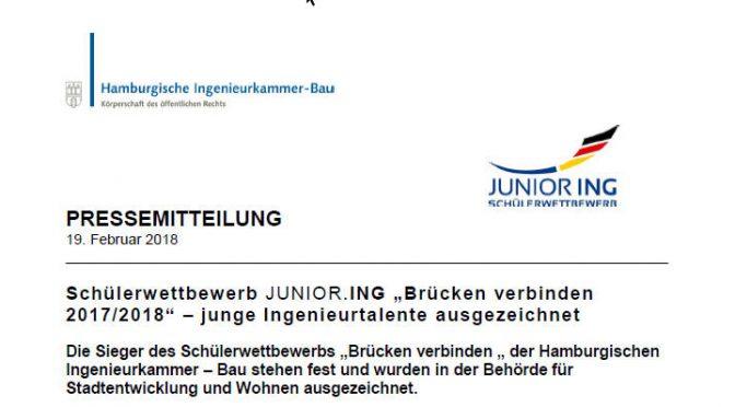 """Schülerwettbewerb der Ingenieurkammer JUNIOR.ING """"Brücken verbinden"""""""